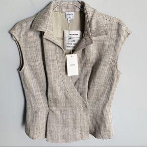 Armani Collezioni Tweed Linen Vest In Oatmeal
